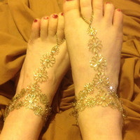 Rhinestone flower barefoot sandals perfect for beach wedding, prom, or as gypsy, boho goot jewelry, belly dance etc