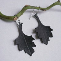 Leaf Earrings hand cut from recycled bike inner by Gloomstopper