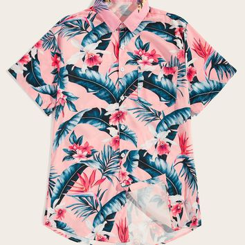 Men Tropical & Floral Print Hawaiian Shirt