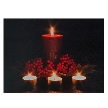 "LED Lighted Candles and Red Berries Christmas Canvas Wall Art 12"" x 15.75"""