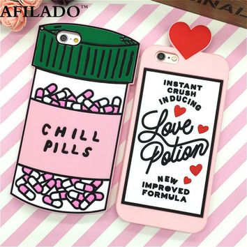 Fashion 3D Sweet Love Polion Chill Pills Rubber Soft Cute Back Cover for Apple iPhone 6 6s 4.7'' Funny Silicone Phone Case Shell