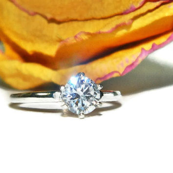Simple Promise Ring, Low Profile Ring, 1 Carat Engagement Ring, Sterling Silver Purity Ring