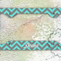 Personalized License Plate Frame - Tiffany blue and Gray chevron, custom name or monogram, front car tag