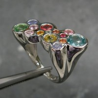 Sterling silver ring with 14  prescious stones by Bimonia on Etsy