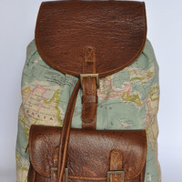Genuine Leather and World Map Atlas Print Backpack by DoubleEdge