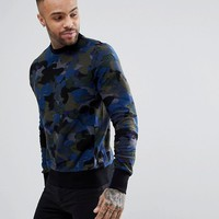 PS Paul Smith Crew Neck Reverse Loop Back Camo Sweat In Khaki at asos.com