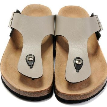 Birkenstock Leather Cork Flats Shoes Women Men Casual Sandals Shoes Soft Footbed Slippers-164