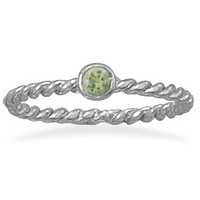 Light Green Glass Stackable August Birthstone Ring