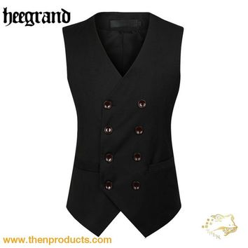 Double Breasted Slim Chaleco Sleeveless Cotton Waistcoat Suit Vest