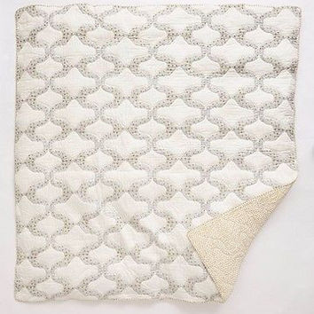 NWT Anthropologie Dotted Trellis Latice Dot Quilt - Queen