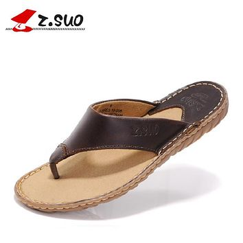 z.suo 2017 Summer Brown Mens Sandals Outdoor Beach Slippers Cow Leather Shoes Man Designer High Quality Casual Men's Flip Flops