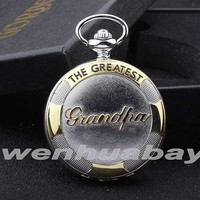 The Greatest Grandpa Quartz Pocket Watch with Chain