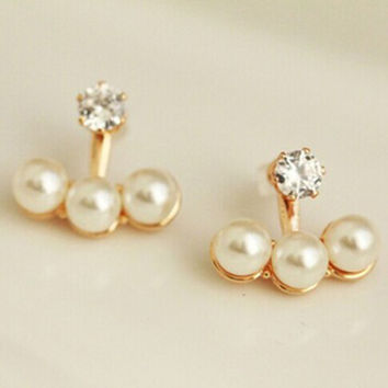 Elegant and charming Gold Plated 3 Imitation Pearl one Crystal Double Sided Stud Earrings for Women Girls Piercing Jewelry