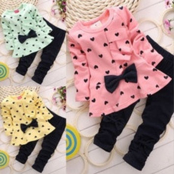 Baby Girl Clothing Sets Heart-shaped Print Bow Cute 2PCS Kids Set Girl Clothes Children Suit Top and Pants [8424593671]