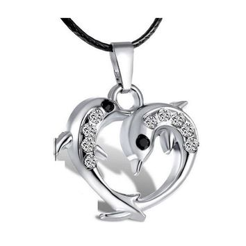 Silver Crystal Dolphin Heart Pendant Necklaces