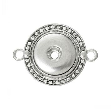 Round Silver Tone Fashion Connectors and Findings in Clear Rhinestone