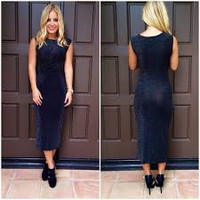 Spritz of Glamour Black Midi Dress