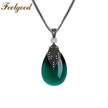 Silver Vintage Water Drop Green Opal Stone  Pendants Necklaces