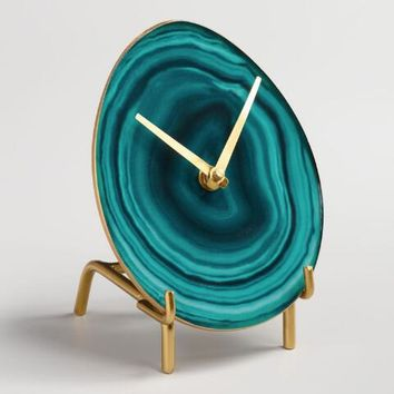 Green Faux Agate Tabletop Clock with Brass Stand