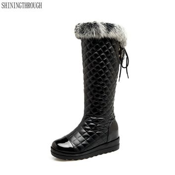 SHININGTHROUGH - New Women's Platform Quilted Faux Leather Boots*