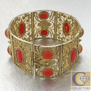 Antique Vintage Italian 800 Silver Oxblood Red Coral Wide Filigree Bracelet