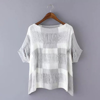 Block Short-Sleeve Knitted Shirt