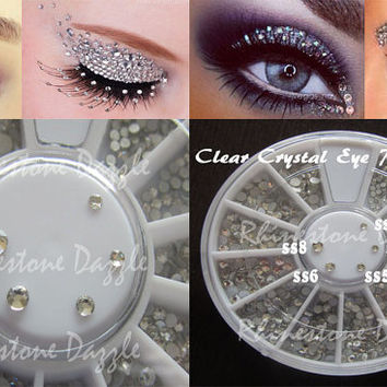 Clear Crystal Eye Rhinestones, 5 Sizes in Storage Wheel, ss3, ss4, ss5, ss6, ss8, Face Gems, Face Jewelry, Face Rhinestones, Eye Bling