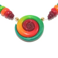 Ombre elegant beads, color gradient spiral beads, polymer Clay beads in red, orang and green, set of 3