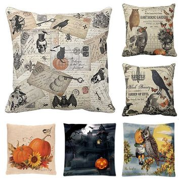 Happy Halloween Bird Skull Pillow Cover Pumpkin Cushion Cover Square Throw Pillow Case for Sofa Bedroom Office Home Decoration