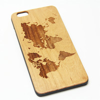 World Map Wood Engraved iPhone 6s Case iPhone 6 Case iPhone 6s 6 Plus Cover Natural Wooden iPhone 5s 5 Case Samsung Galaxy S7 Edge S6 S5 Case D126