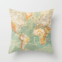 Antique French World Map Throw Pillow by Carambas
