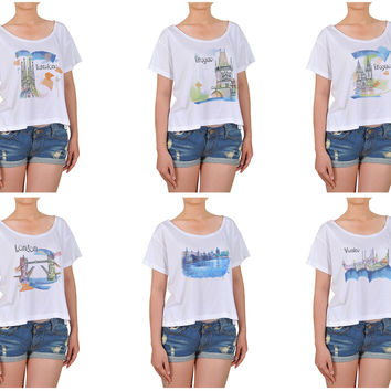 Women Watercolor famous place painting Printed Cotton Croptop WTS_08