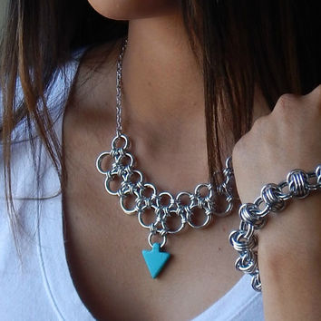 Silver Chain Maille Necklace // Chainmaille Renaissance Jewelry // Clay Turquoise & Silver Chainmail