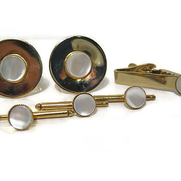 Vintage Faux Mother of Pearl Mens Jewelry Set Tie Clip Cufflinks Shirt Studs Gold Tone Mid Century Formal Wedding Best Man Groom Gift