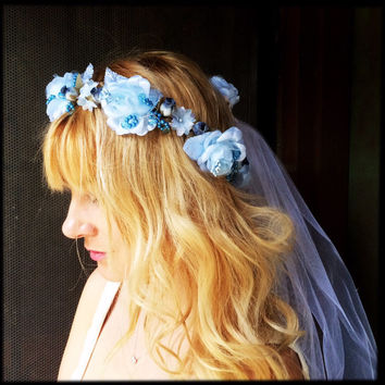 Bridal headpiece flower wedding headband crown tiara something blue