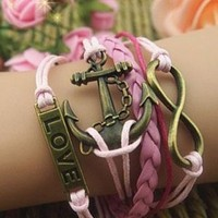 LOVE Anchor Number Pink  Bracelet