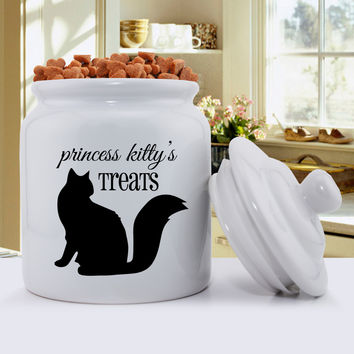 Personalized Cat Silhouette Treat Jar - Script Design