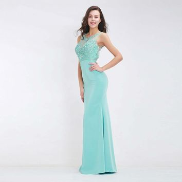 Chic Elegant Evening Dresses O-neck Sleeveless Crystal Beading Open Back Jersey Maxi Long Dresses Classy Prom Gowns