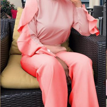 New Pink Ruffle Pockets Two Piece Bell Bottomed Flares Party Long Jumpsuit