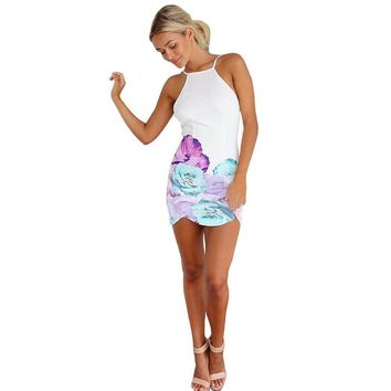 ABC® Women Slim Summer Floral Print Gallus Sleeveless Backless Dress