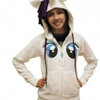 My Little Pony Rarity Face Juniors White Costume Hoodie with Mane & Horn - My Little Pony - | TV Store Online