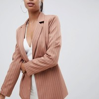 Missguided exclusive pinstripe boyfriend blazer in nude | ASOS