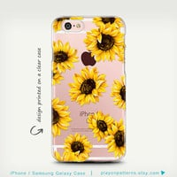 iPhone 6s Case , Galaxy S7 Case , Transparent Case , iPhone 6 Case , iPhone 6 Plus Case , Samsung Galaxy Cases ,  Clear Rubber , SunFlowers