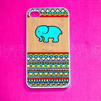 Baby elephant on Wood Aztec pattern phone 4 Case, Rubber iPhone 4 Cases, Cuse Case for iPhone 4