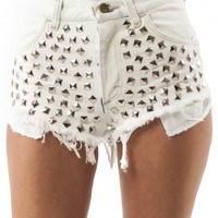 Naya Shorts in White & Silver