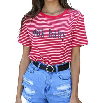 2018 Fashion Clothes For Women Summer Tops 90'S Baby Letter Printed Harajuku T Shirt Red Stripped  Female T-shirt