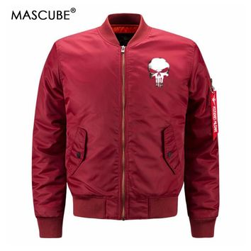 8XL Plus Size Coats Men Bomber Jacket slim Fit Pilot Punisher Skulls Printed Warm Zipper Men Flight Jackets