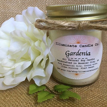 Gardenia Soy Wax Candle | Essential oil Candles| Soy Candle|Soy candles hand poured