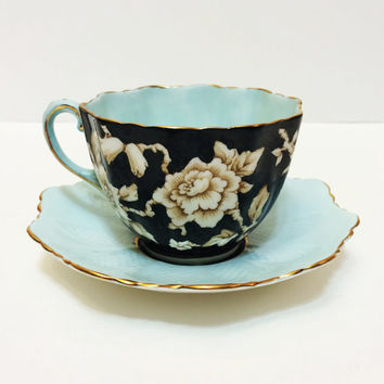 Paragon Chintz Tea Cup, Pale Mint Green, Black, Wild Rose, Bone China, Gold Rims, Scalloped, 1930s