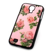 BLACK Snap On Case GALAXY S4 SAMSUNG S 4 IV i9500 Plastic Cover - PINK ROSES floral flower bloom japanese cherry blossom girly cute